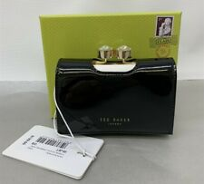 NWT Ted Baker 144203 Marli, Turbine Crystal Frame Small Leather Purse, Black