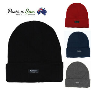 Mens INSULATION POLAR FLEECE BEANIES WINTER Thermal Knitted THINSULATE AU Stock