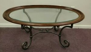 Ethan Allen Oval Glass with Wood & Iron Coffee Table
