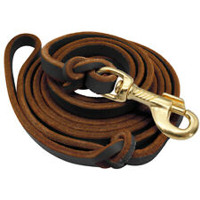 Braided Leather Genuine Dog Tracking Lead Heavy Duty Long Dog Training Lead 8ft