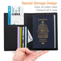 100% Genuine Soft Leather RFID Passport Visa Cover Wallet Business Card Holder