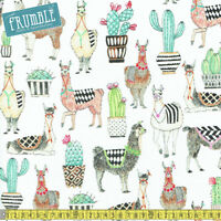 Michael Miller Fabric Lovely Llamas White PER METRE Alpaca Animals Retro Fun Chi