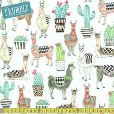 Michael Miller Fabric Lovely Llamas White PER METRE Alpaca Animals Retro Fun Chi