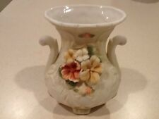White Glass 6 Inch Bud Vase Ornate Pink & Yellow Flowers
