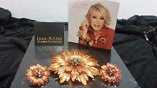 QVC Joan Rivers Beautiful Orange Sunflower Brooch & Earrings Set Pierced