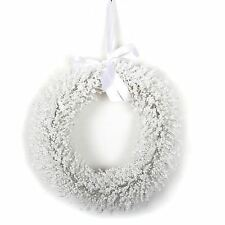 White Hanging Frosted Glitter Christmas Door Wreath Decoration