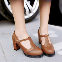 Women's T-strap Brogues Block High Heels Ankle Buckle Casual Round Toe Shoes New