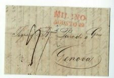 1835 Odessa Russia Stampless to Genoa Italy, Milan Straightline