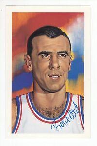 Bob Pettit - Basketball Hall of Fame - Autographed Ron Lewis Art Postcard