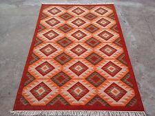 Tribal Afghan Flat Kilim Hand woven Carpet Wool Kelim Area Rug 5'x8'ft