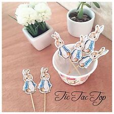 🐰12 x Peter Rabbit CUPCAKE TOPPER Pick. Party Supplies Food Lolly Loot Bag Flag