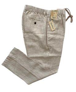 Caribbean 100% Linen Nwt Natural Beige Elastic Waist Drawstring Pants Slacks