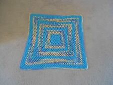 Handmade Crocheted Afghan Lap Blanket Sofa Decor 32.5x34 Blue Aqua Periwinkle