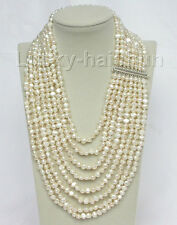 "17""-24"" 8row baroque white pearls necklace 925 silver clasp j8756"