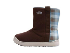 The North Face Girl's sz 6 Mountain Bootie Winter Fleece Boots Brown/ Blue Plaid