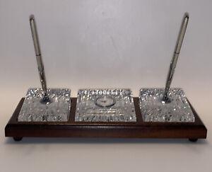 Vintage Waterford Crystal Pen & Pencil Desk Clock Set On Wood Stand - Ireland