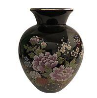 Porcelain Ginger Vase Black Floral Gold Trim Vintage Asian Japan Label 6 inch