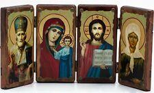 """Wooden Icon Saint Nicholas Our Lady of Kazan Jesus Christ Matrona Moscow 17""""x8"""""""