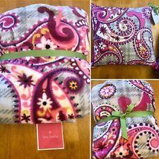 Vera Bradley Throw Blanket + Pillow Set PAISLEY MEETS PLAID Pink Gray RARE New💕