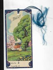 5 inch art deco graphics bridge tally card, country cottage with trees