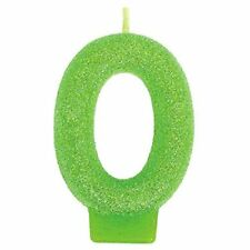 """New Amscan 3"""" Green Number """"0"""" Figurine Cake Topper Birthday Candle"""