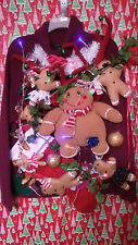 "GINGER BREAD MAN "" UGLY "" TACKY Christmas SWEATER LARGE LIGHTS WOMENS L@@K"
