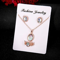 Elegance Women Rose Gold Crystal Necklace Ring Earring Fashion Jewelry Gift Sets