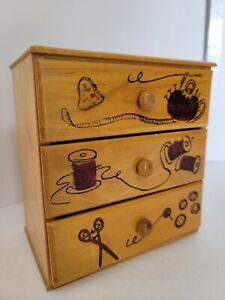 Vintage Wooden Sewing Chest Of Drawers W/ Wood Pulls- Hand Painted Notions JAPAN