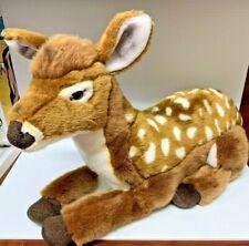 "Cute FAO Schwarz 18"" Plush Spotted Lying Baby Deer Fawn Realistic Stuffed Animal"