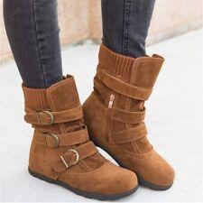 Women Low Heels Mid-calf Suede Flat Boots Buckle Warm Winter Outwear Shoes Brown