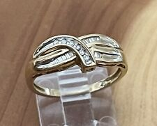 Amazing 10K Yellow Gold Natural Diamond Journey Band Ring Size 7.5