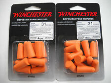 WINCHESTER BRAND DISPOSABLE FOAM EARPLUGS, 31 NRR, 2 PACKS OF 6 PAIRS (24 TOTAL)