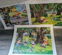 "1967 Vintage ""Children At Play"" Prints Signed by Craig Pine Art Lot (3) Prints"
