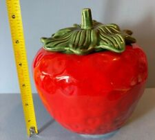 "Vintage 1960s Red Figural Strawberry 7"" Cookie Jar  w Green Stem Lid England 60s"