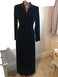Classic Laura Ashley Velvet and Silk Long Evening Coat Size 10 Midnight Blue