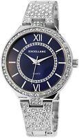 Damenuhr Blau Silber Römische Ziffern Metall Strass Armbanduhr X-1800047-003