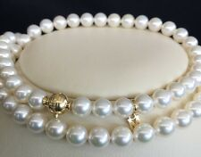 "1893 💎Clasp Mikimoto 18K YGold 7x7.5mm Snow White Akoya 22"" Pearl Necklace+Box"