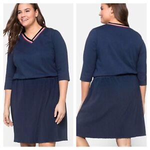 Sheego @ Curvissa plus sz 30 32 navy blue pleated skirt 3/4 sleeve casual DRESS