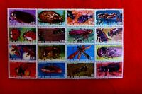 sheet of 16 muh   EQUATORIAL GUINEA BUGS INSECTS STAMPS
