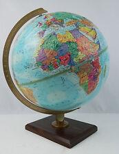 """Vintage Replogle 12"""" Globe World Nation Raised Terrain Walnut Vaneer Wood Base"""