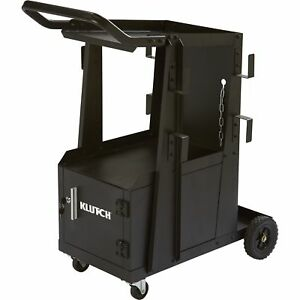 Klutch 2-Tier Welding Cart w/Locking Cabinet- 27 1/4inL x 18 3/4inW x 35 3/4inH