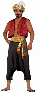 Men's Black Genie Pants Aladdin Desert Prince Costume Accessory Size Standard