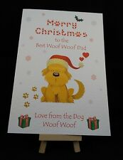 Personalised Handmade Merry Christmas to the Best Mam / Dad from the Dog Card