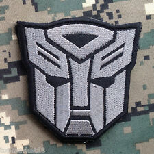 Autobot Transformers Movie Motorcycle Logo Morale Embroidered Hook Patch Gray