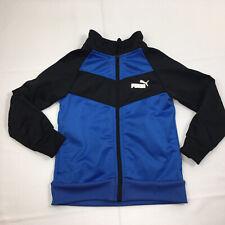 Puma Athletic Zip Up Jacket Kid's Size 4T Reflective Logo Blue/Black