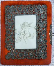 VICTORIAN ART NOUVEAU ANGEL WING BUTTERFLY FUNKY MID MOD ORANGE GOLD PHOTO ALBUM
