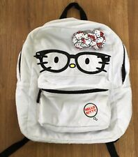 Loungefly Hello Kitty Glasses Face White Fur Full Size Backpack Bag Bow Sanrio
