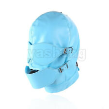 PU Leather Removable Eyepatch Solid Rubber Ball Mouth Gag Bondage Hood Mask Blue