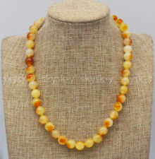 Natural 10mm Yellow Multi-Color Chalcedony Round Beads Gemstone Necklace 14-36''