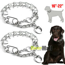 "2 x Dog Prong Collars Pet Pinch Choke Chain Training Collar Heavy Duty 16""-22"""